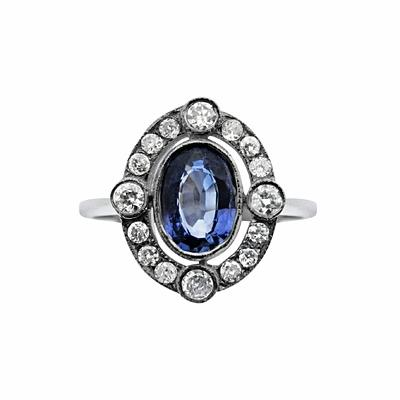 Vintage Sapphire & Diamond Cluster Ring - 0.80ct